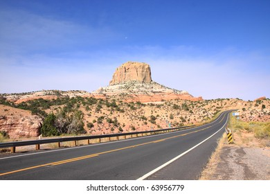 Highway through northern Arizona's desert region on Navajo Indian reservation land