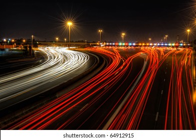 highway toll gate at night, in the south of France