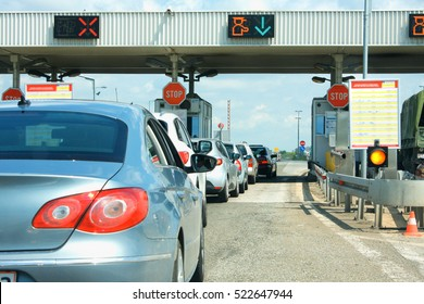 Highway traffic jam on pay toll station in Europe.