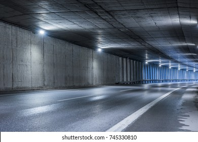 Highway tunnel. Interior of an urban tunnel without traffic.