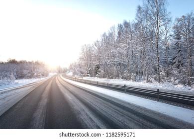 Highway in wintertime