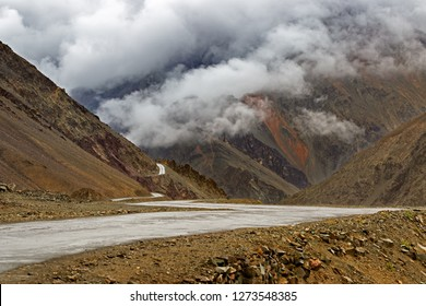 Highway of Zojila Pass, a high mountain pass between Srinagar and Leh at 11575 ft, 9 Km stretch. Highest Indian National Highway.