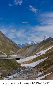 Highways and footpaths in the mountains of Georgia.