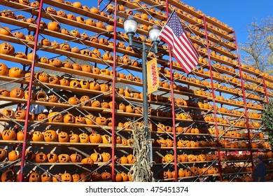 """Highwood, IL, USA - October 11, 2015: An afternoon view of """"the wall"""" at The Great Highwood Pumpkin Festival."""