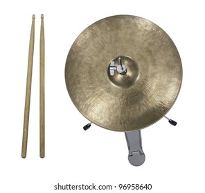 Hi-Hat Cymbal and drumsticks from top