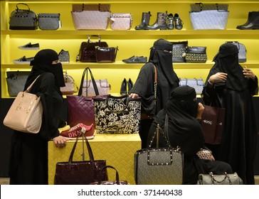 Hijab Arab ladies doing shopping in Istanbul,, Turkey 20 September 2014