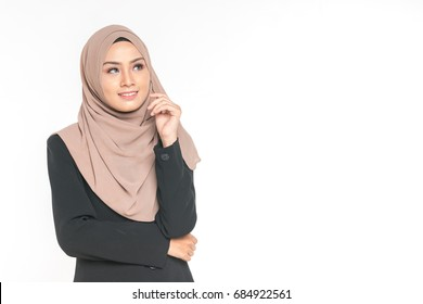 Hijab businesswoman with expression face.