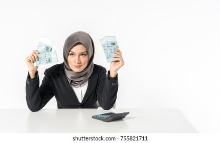 Hijab businesswoman and money with white background.