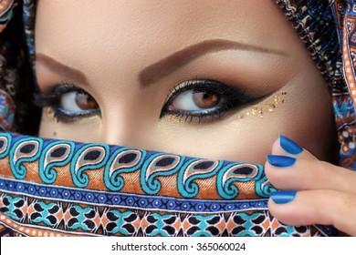 Hijab, eyes of beautiful woman, arabian makeup, intense look