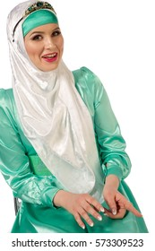 hijab. The Islamic headscarf for women and the general clothing, hides figure, wrists and neck women. Very beautiful girl