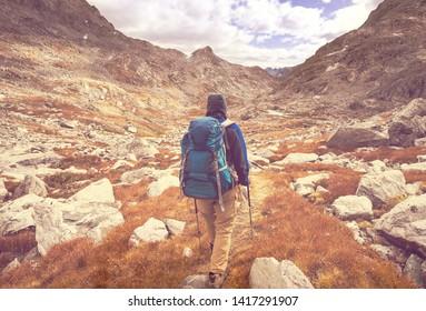 Hike in autumn mountains, Wyoming, USA