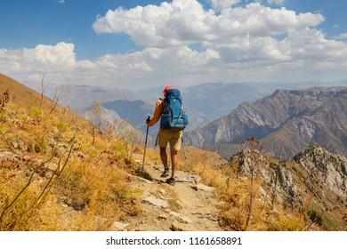 Hike in Chimgan mountains, Uzbekistan.