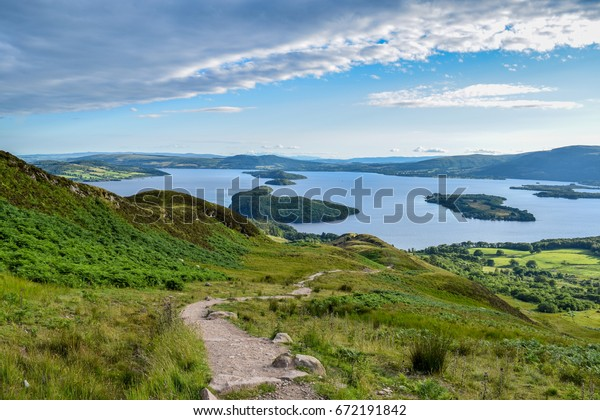 A hike up Conic hill part of the west highland way Scotlands oldest long distance trail.