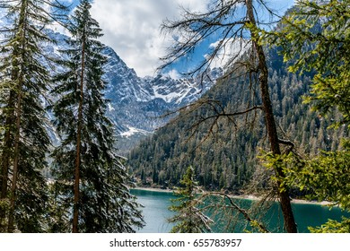 Hike road along Braies Lake, Dolomites, Trentino Alto Adige, Italy in summer day