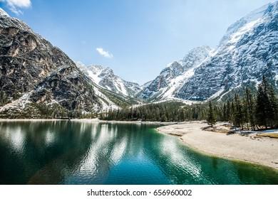 Hike road around Braies Lake, Dolomites, Trentino Alto Adige, Italy