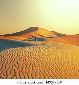 Hike in Sahara desert