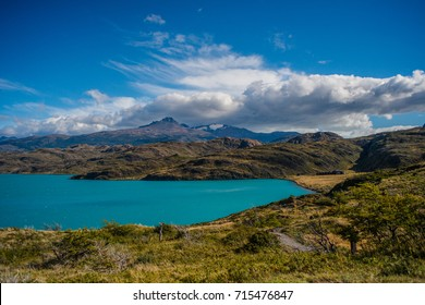 Hike in Torres del Paine, near Refugio Paine Grande with turquoise lake. Chile, Patagonia.