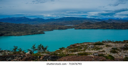 Hike in Torres del Paine, turquoise coloured-lake. Chile, Patagonia.