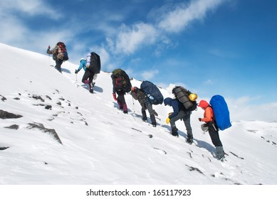 hike in a winter mountains