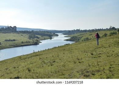 Hiker admiring the view at Ragia Forest, Aberdare Ranges, Kenya