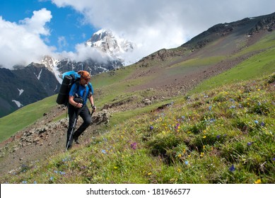 hiker with backpack in Georgia mountains