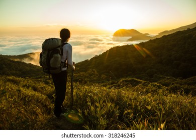 Hiker with backpack and Trekking Pole enjoying sunset on a dense Amazon Rain Forest in Brazil