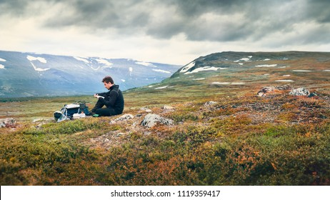 Hiker camping outdoors
