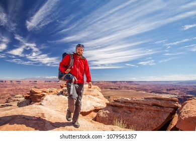 Hiker in Canyonlands National park in Utah, USA
