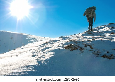 Hiker climbs to the top of Chatyr Dag mountain in the Crimean mountains. Graphically image with clear blue sky and white showy slope.