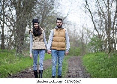 Hiker couple in the nature