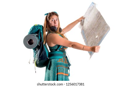 Hiker girl with backpack and map isolated in white, trekking and travel lifestyle concept