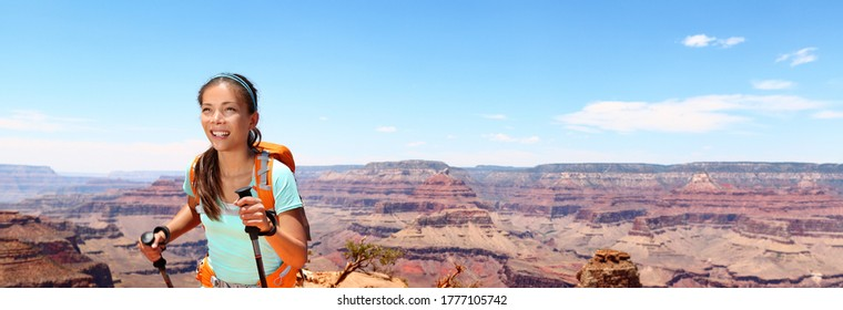 Hiker girl hiking alone with backpack on trek trail walk hiking poles in Grand Canyon National Park banner panorama.