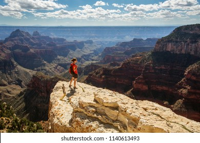 A hiker in the Grand Canyon National Park, North Rim, Arizona, USA