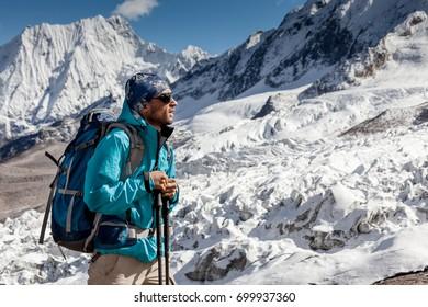 Hiker in highlands of Himalayas on Manaslu circuit