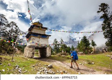 Hiker in highlands of Himalayas on Manaslu circuit