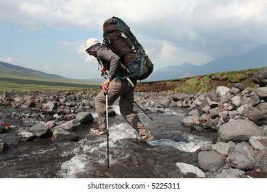Hiker in Kamchatkian mountain