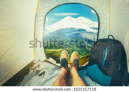 Hiker Man Sitting In