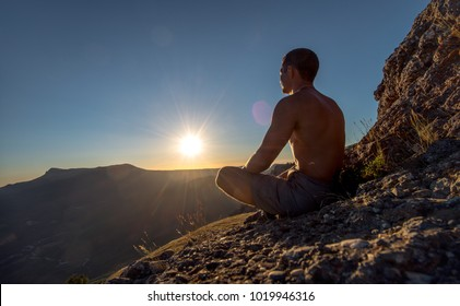 hiker meditate on beauty mountain landscape background, holiday traveling concept, horizontal photo