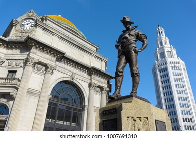 Hiker monument in downtown Buffalo, NY. This statue is dedicated to the Army, Navy, and Marines.