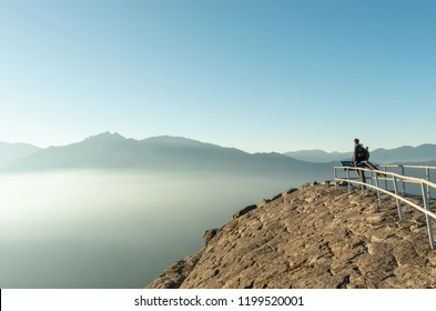 Hiker at Moro Rock in Sequoia National Park, California, USA