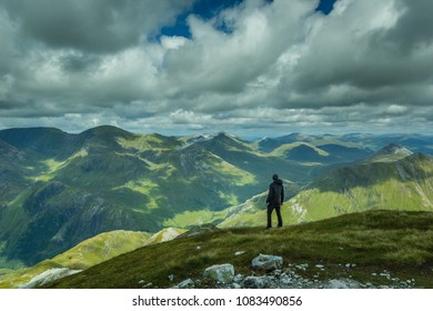 Hiker with mountain background