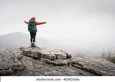 hiker at mountain top