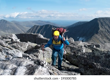 hiker in the mountains, Ural, Russia