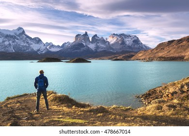Hiker in a national park Torres del Paine, Patagonia, Chile