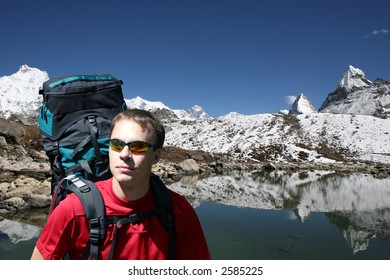 Hiker near Gokyo's 5th lake. Mt Everest is in the background in the center.