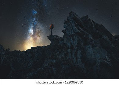 hiker at night on a mountain