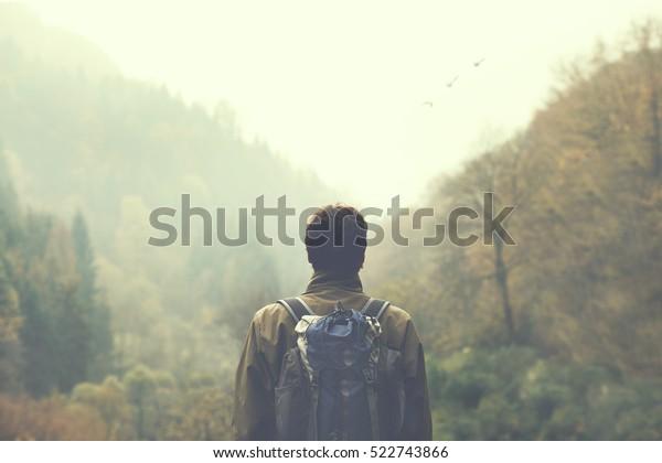 excursionista observando el valle verde