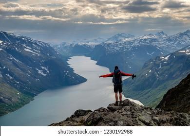 Hiker on the Besseggen ridge, Jotunheimen, Norway