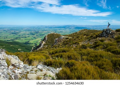 Hiker on Blue Mountains, West Otago