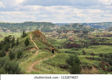Hiker on the Boicourt Trail, Theodore Roosevelt National Park